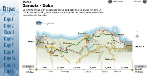 Mapa Camino de Santiago de la Costa Vasca.